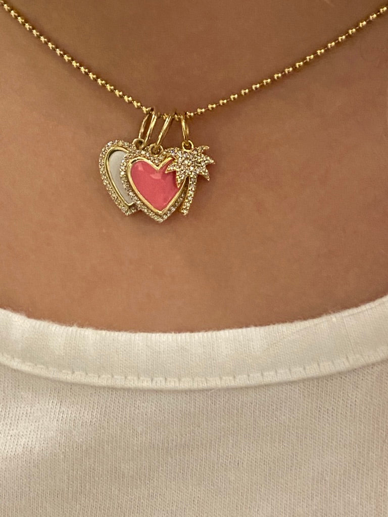 DIAMOND ENAMEL HEART CHARM