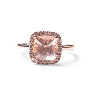 MORGANITE WITH DIAMOND HALO COCKTAIL RING