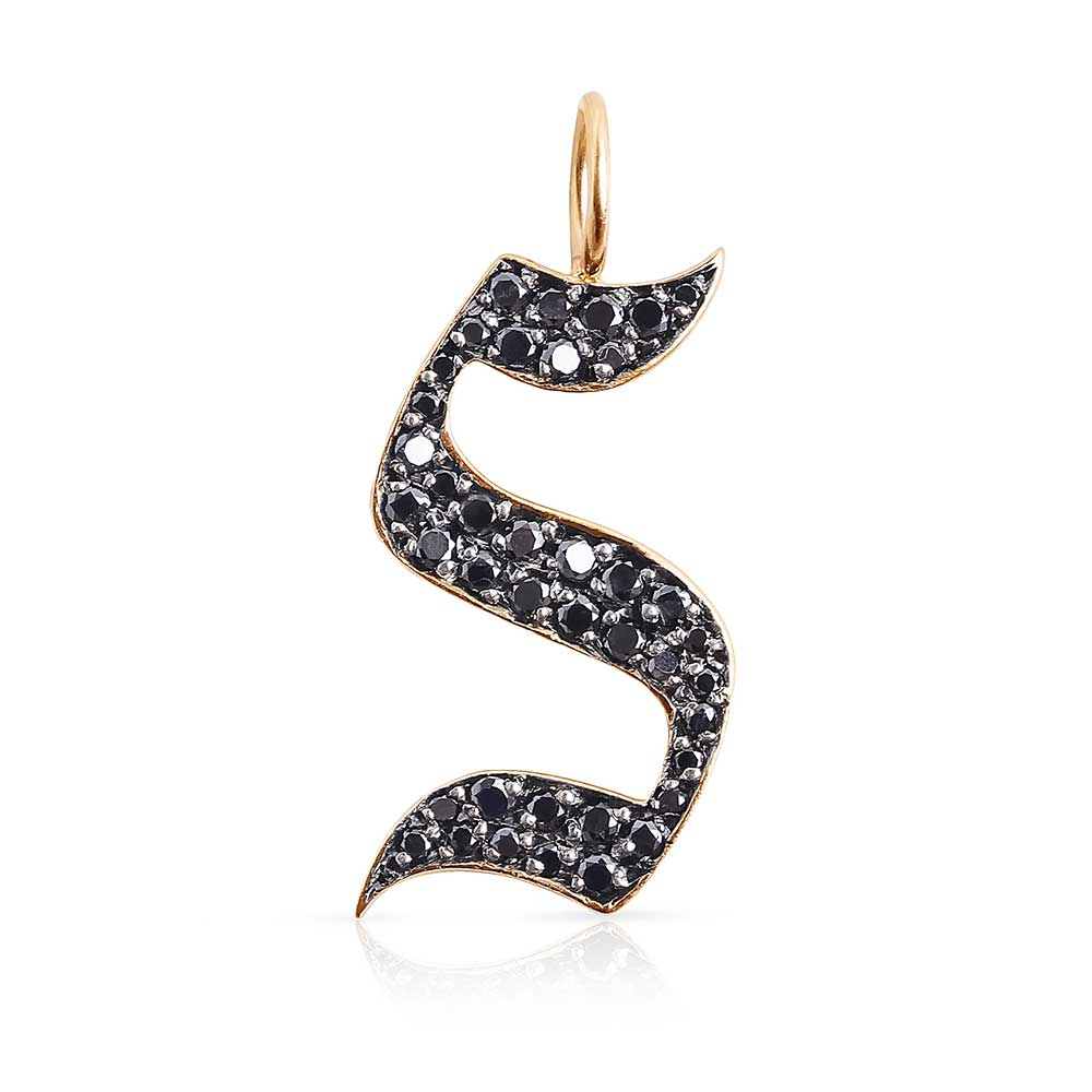 BLACK DIAMOND GOTHIC LETTER CHARM