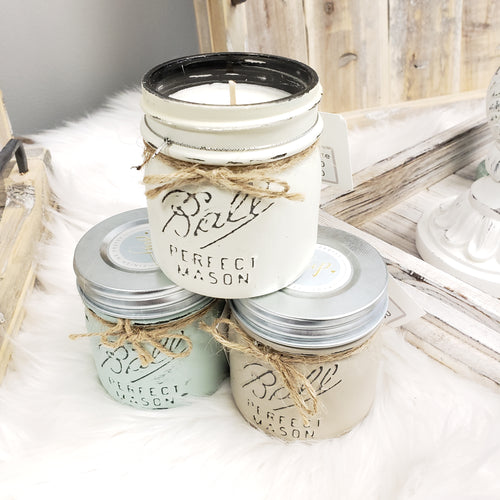But First Coffee Soy Candle Painted Mason Jar Multi Colour Options FMP30