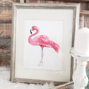 CHA4 Pink Flamingo Framed Print 13.5 by 16 inch Frame