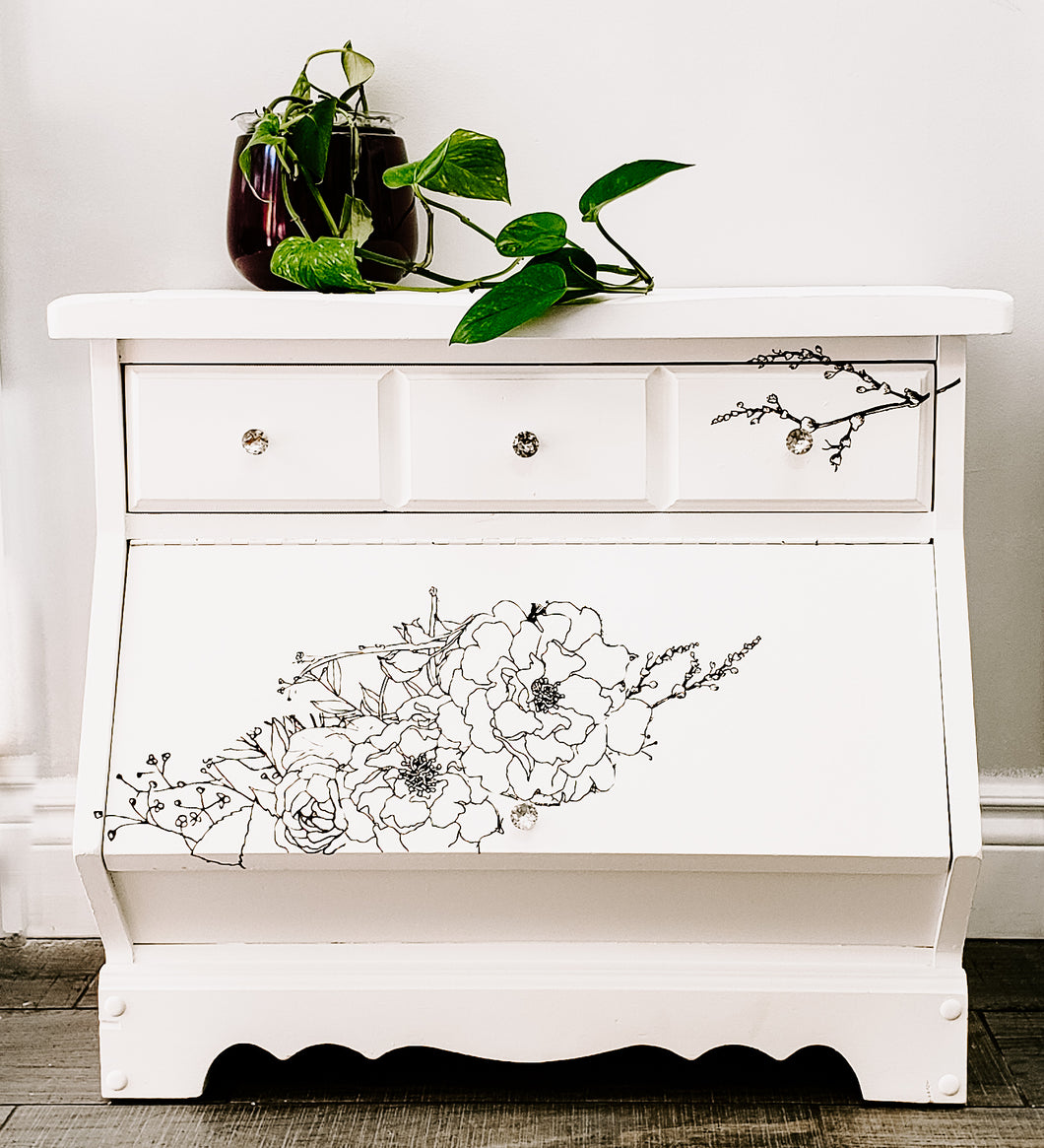 Side Table / Night Stand / Storage Bench in Casement by Fusion Mineral Paint with IOD Transfer