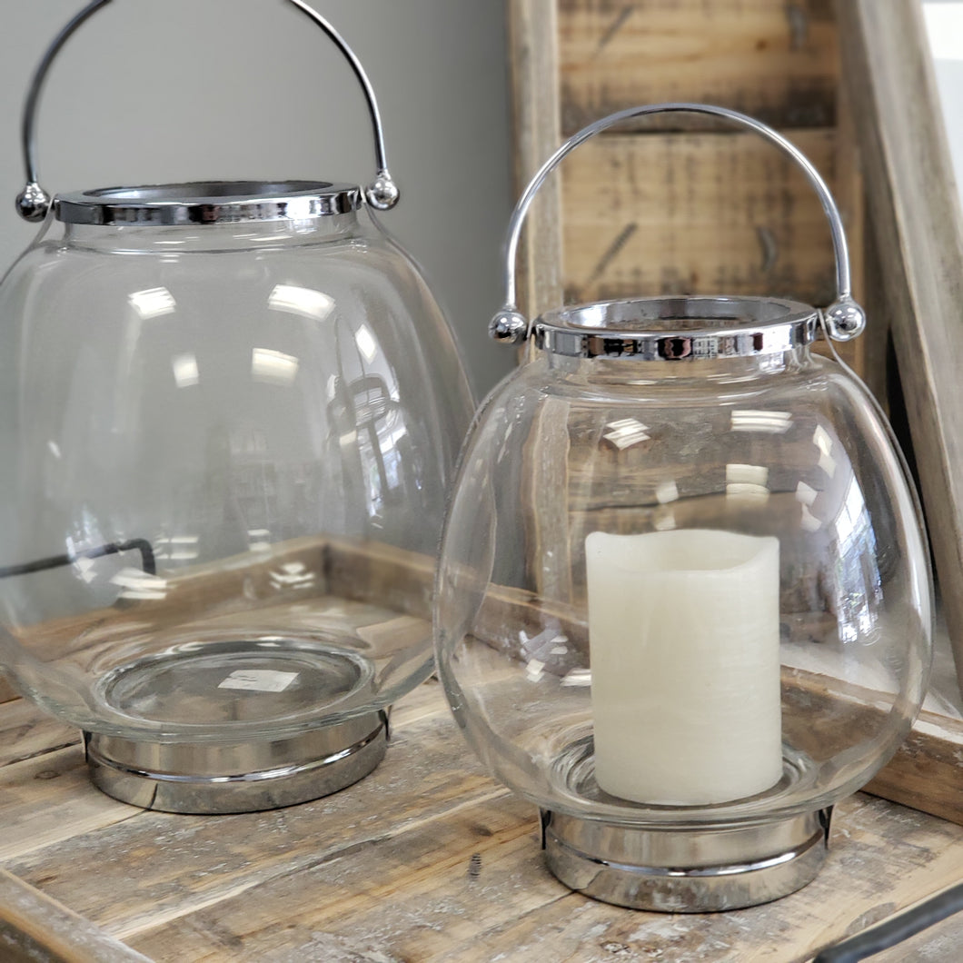 Glass and Silver Chrome Lantern