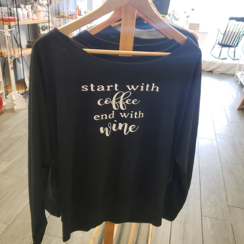 Start With Coffee Flowy Shirt - White Text