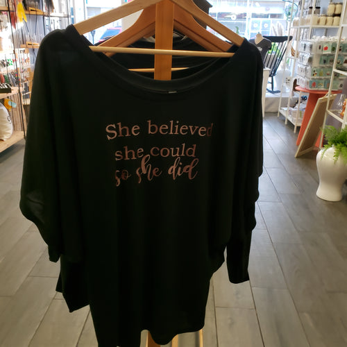 She Believed She Could So She Did Flowy Shirt - Rose Gold Text