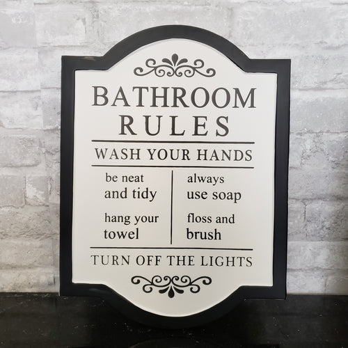 Bathroom Rules Tin Black and White Sign