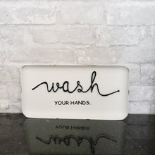 Wash Your Hands 3D Tin Sign Black and White