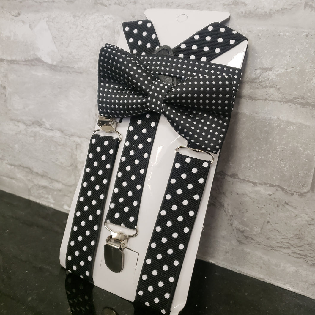 Black Polka Dot Bowtie and Suspenders Set