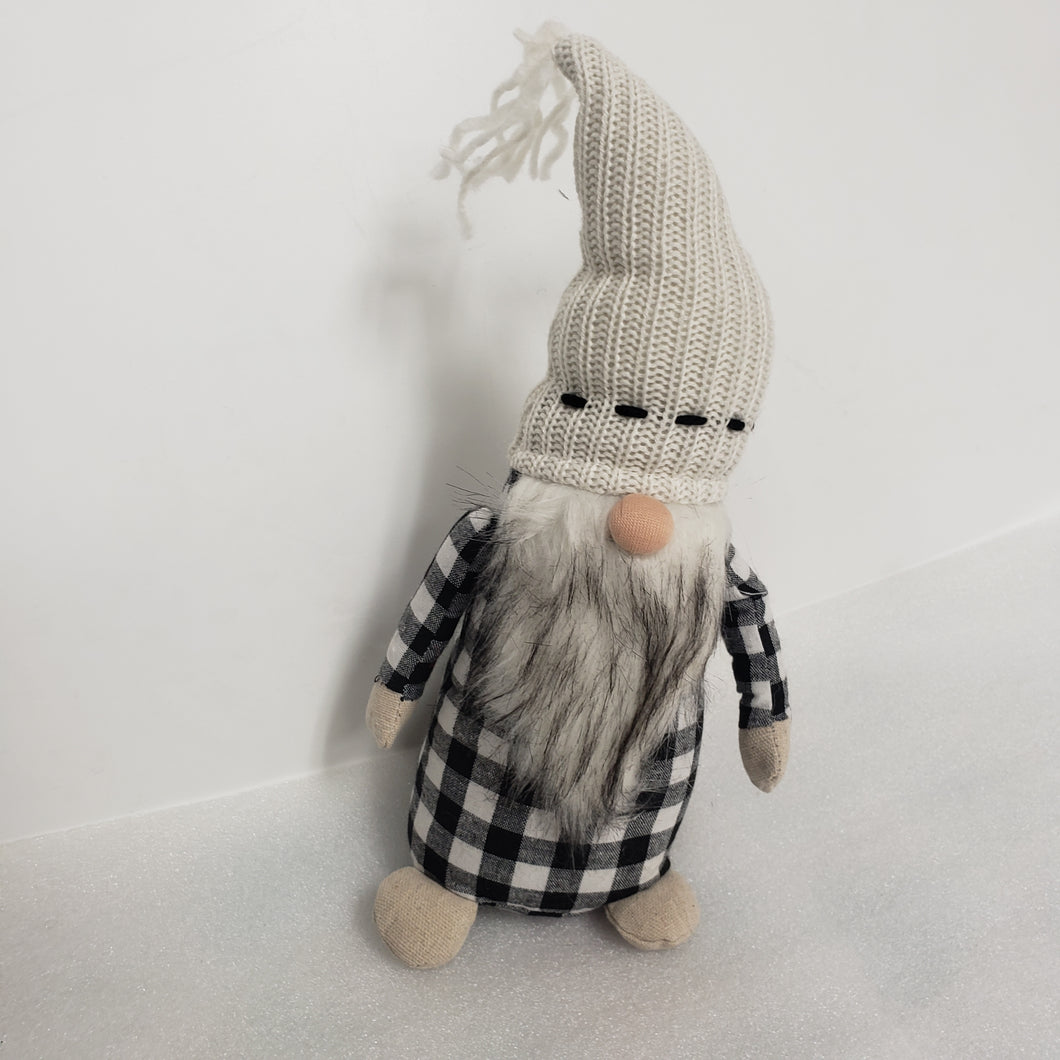 Grey checkered Christmas Gnome