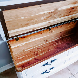 French Provincial Cedar Chest / Bench  in Casement