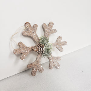 Snowflake Christmas Ornament With Pinecone