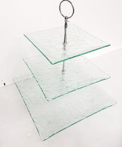 Three Tier Glass and Metal Tray