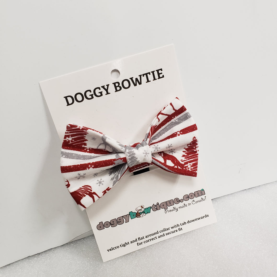 Doggy Bowtie - Red and Grey Christmas Tree and Deer HIT 2