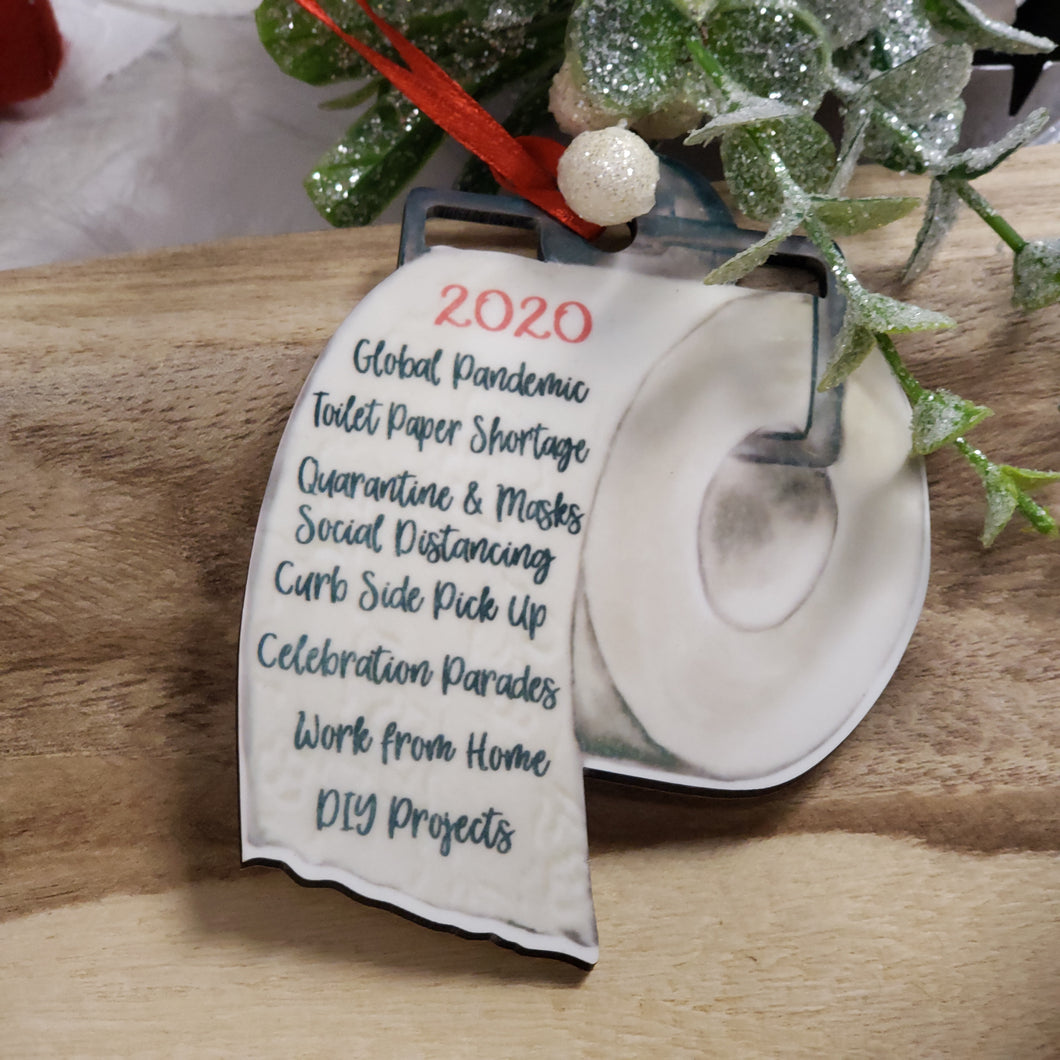 2020 Words Toilet Paper Shaped Ornament