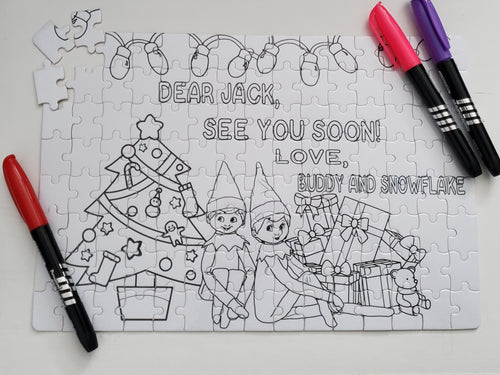 DIY Kit: Elf on a Shelf Personalized Coloring Puzzle