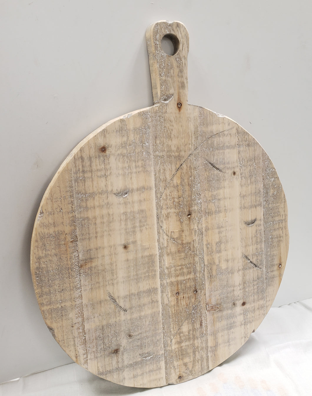 Large Round Wood Cutting Board - White Washed