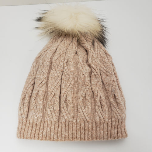 Pink Winter Hat - Cable Knit Hat With Pom-Pom