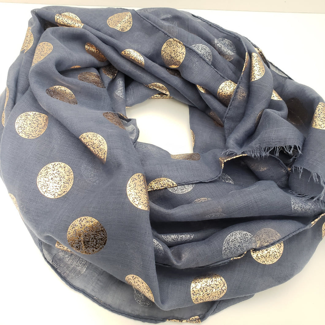 Large Dots Scarf - Blue and Rosegold