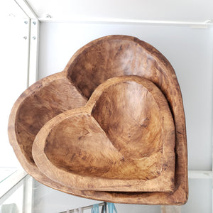 Heart Shaped Handcrafted Wood Dough Bowls