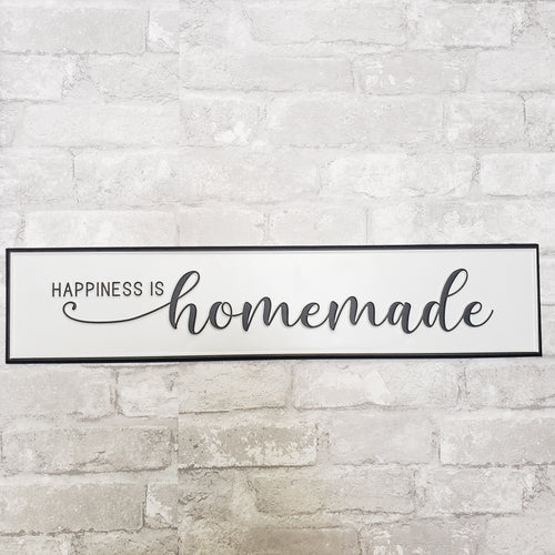Happiness is Homemade Tin Black and White Sign