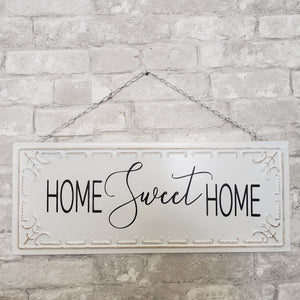 Home Sweet Home Tin Black and White Sign