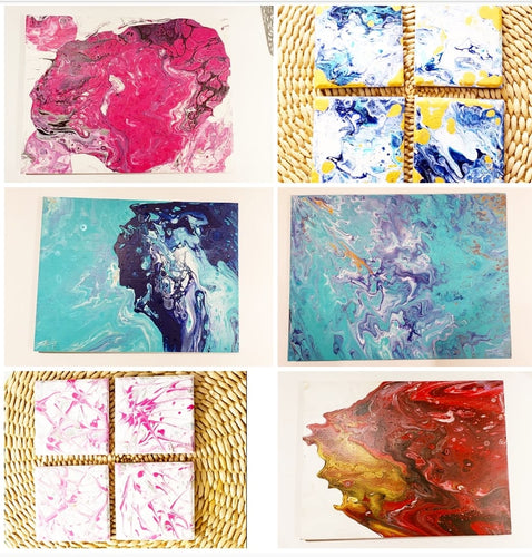 Oakville April 12 - Paint Pouring Art- Your Choice - Create 4 Coaster or Canvas Art