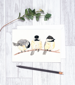 Winter Chickadees Card CHA2 Note Card