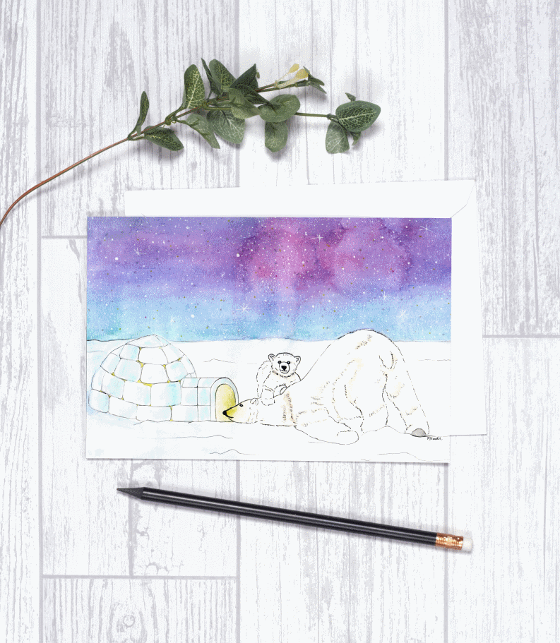Polar Bears Christmas Holiday Card CHA2 Note Card