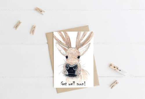 Caribou Nose Get Well Soon Card CHA2 Note Card