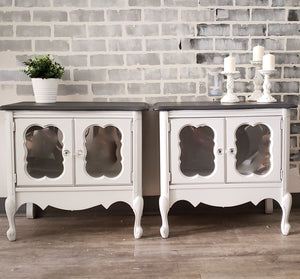 Side Tables / Night Stands in Ash and Sterling