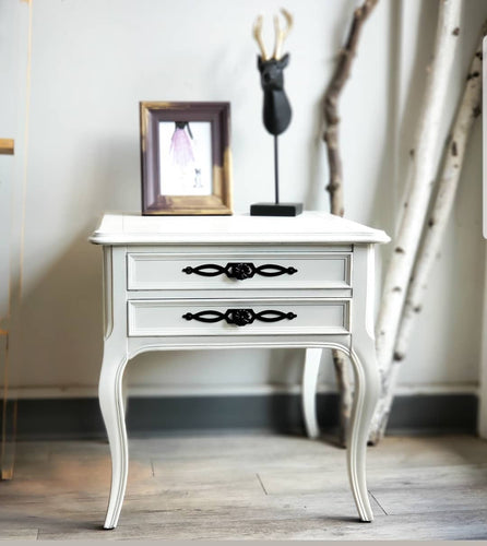 French Provincial Style Side Table in Raw Silk