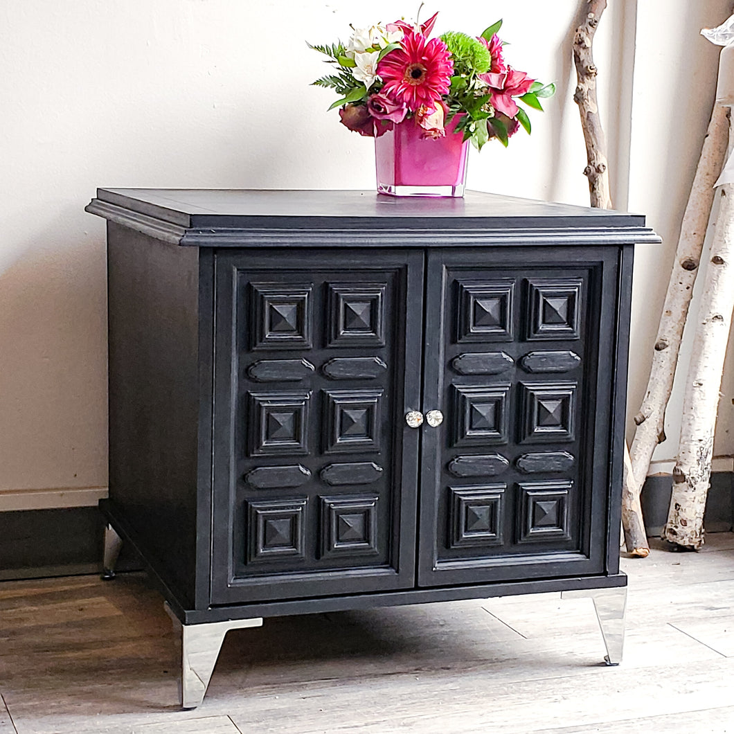 Side Table / Night Stand in Coal Black with Chrome Legs