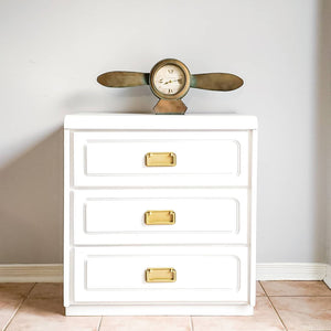Three Drawer Dresser in Casement White with Gold Hardware
