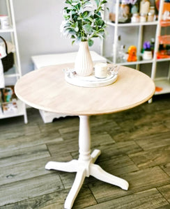 Round Table Finished in Casement White by Fusion Mineral Paint with Driftwood Stain and Finishing Oil Top