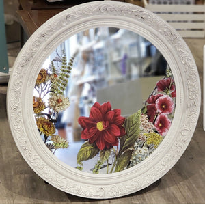 White and Floral Mirror