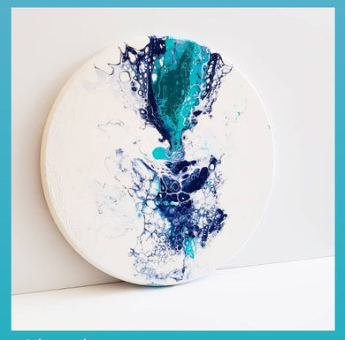Oakville Nov 8th 6:30pm - Paint Pouring Fluid Art- Your Choice - Create 4 Coaster / Canvas Art/ Round Canvas/ Round Tray