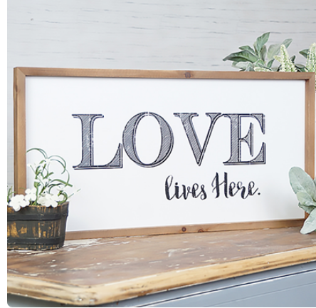 Love Lives Here Framed Wood Sign