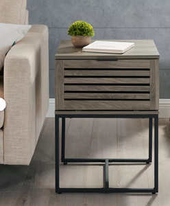 Slate Grey Frame End Table with Storage