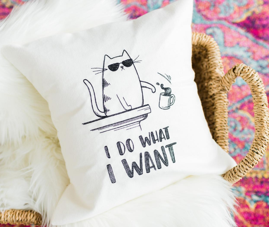 I do what I want 14 inch Cat Pillow