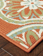 "Ceasar Floral Orange/Ivory/Green Indoor / Outdoor Area Rug 5'3"" x7'6"""