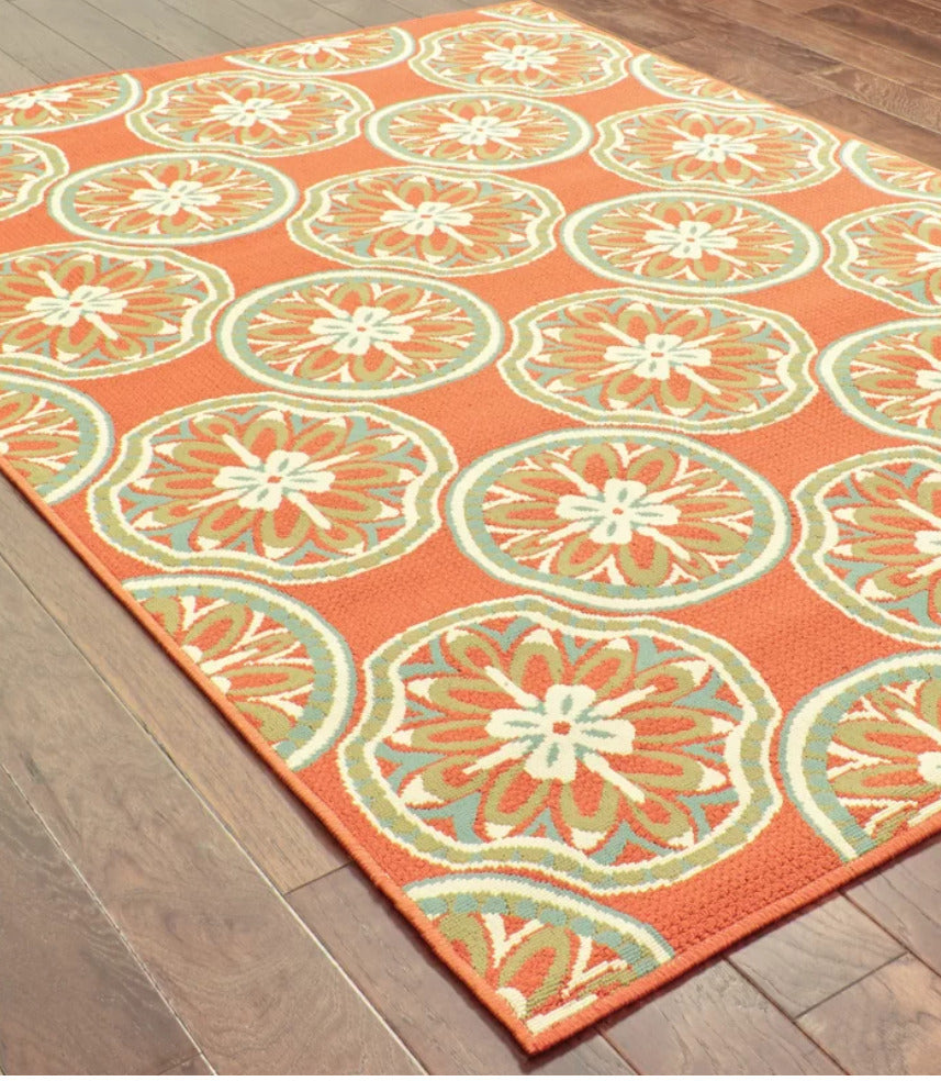 Ceasar Floral Orange/Ivory/Green Indoor / Outdoor Area Rug 5'3