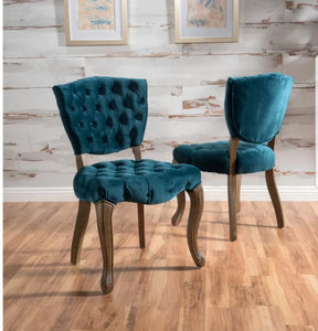 Therrien Tufted Velvet Upholstered Parsons Chair (Set of 2) Dark Teal