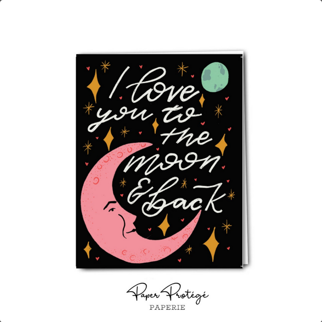I love You to the Moon and Back Card Valentine's Day