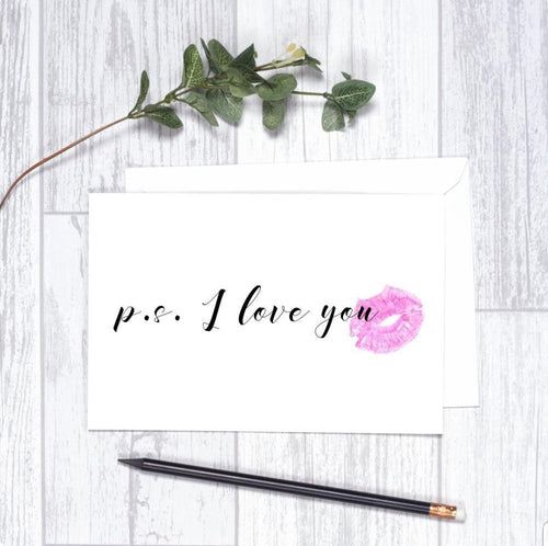 P.S I Love You  Card CHA1 Note Card Valentine's Day