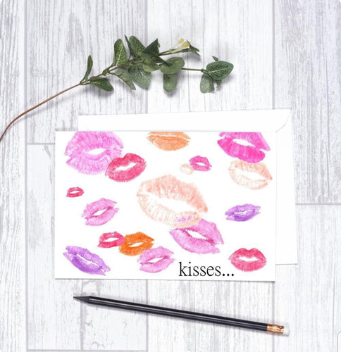 Kisses  Card CHA2 Note Card Valentine's Day