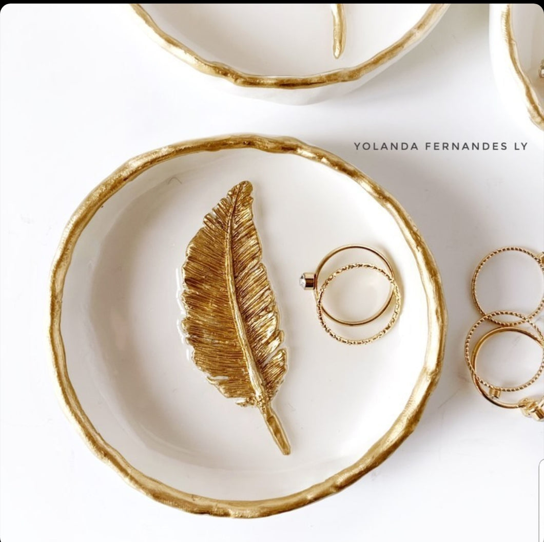 Gold Feather - Resin Ring Dish