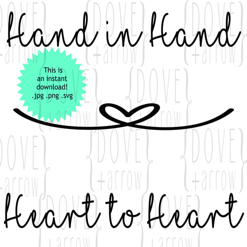 Hand in Hand Heart to Heart Wedding Words SVG Cut File JPG DXF for Cameo Silhouette Cricut Design Space Studio 3 file shirt making card sign