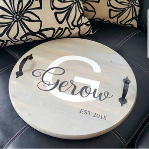Family Name Round Tray - Perfect as a Wedding or Home Warming Gift