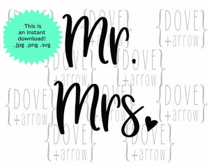 Mr and Mrs Wedding SvG Design File