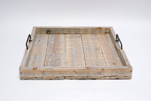 Wooden Trays with Handles - White Washed